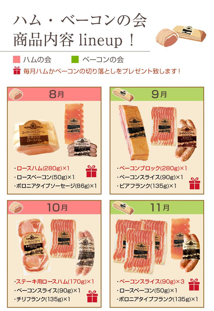 ハム・ベーコンの会商品ラインナップ8月〜11月