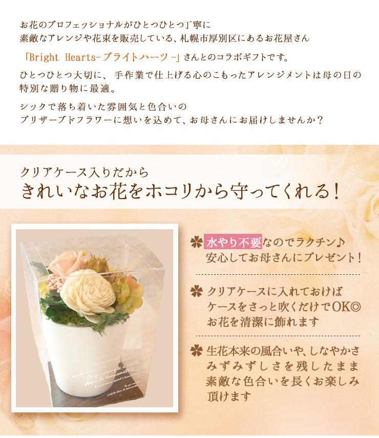 お花のプロフェッショナルがひとつひとつ丁寧に素敵なアレンジや花束を販売している、札幌市厚別区にあるお花屋さん「Bright Hearts-ブライトハーツ-」さんとのコラボギフトです。ひとつひとつ大切に、手作業で仕上げる心のこもったアレンジメントは母の日の特別な贈り物に最適。シックで落ち着いた雰囲気と色合いのプリザーブドフラワーに想いを込めて、お母さんにお届けしませんか?