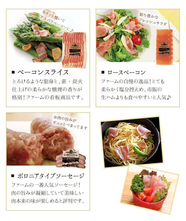 看板商品のベーコンスライス、柔らかくサラダにピッタリなロースベーコン、お肉本来の旨みが楽しめるボロニアタイプソーセージが入っています。
