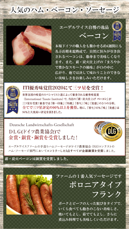 ITI優秀味覚賞2020三ツ星受賞「ベーコン」と一番人気@「ボロニアタイプソーセージ」