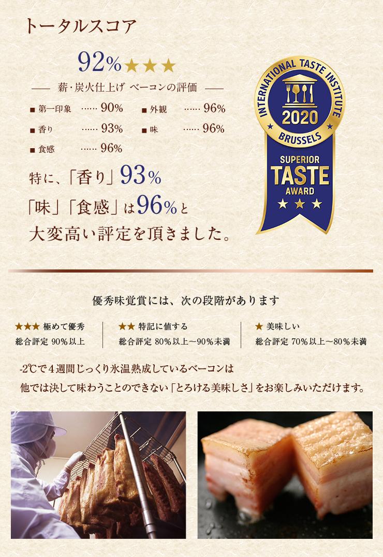 ITI優秀味覚賞にてトータルスコア92%を獲得し三ツ星評価と最高評価を頂きました。