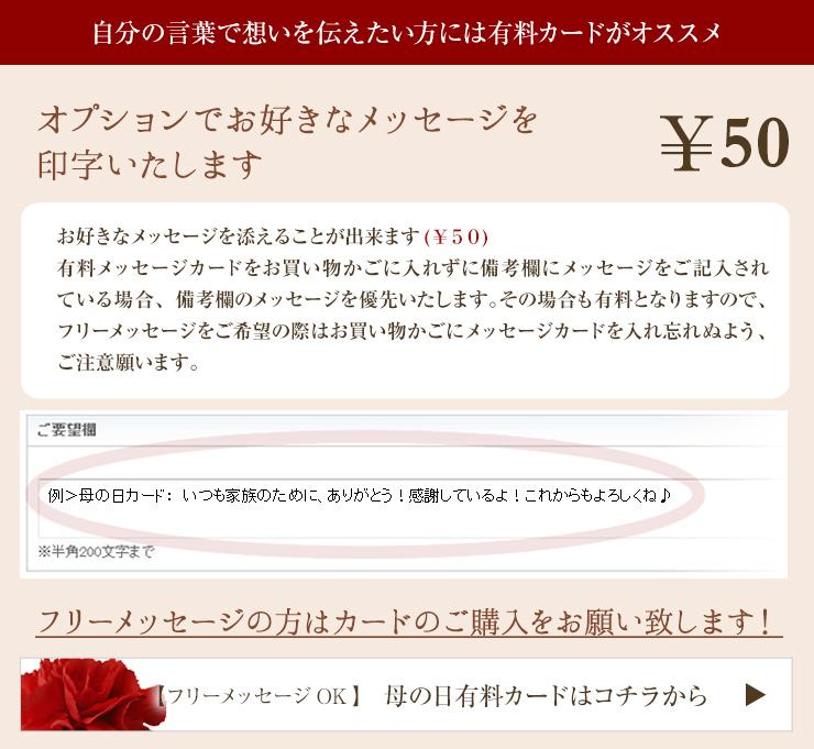 お好きなメッセージを添えることが出来ます(¥50)